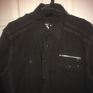 Black long sleeved w/Snaps & Zippers